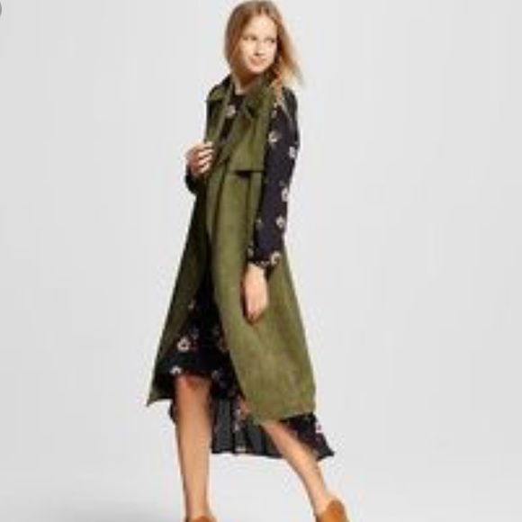 Olive green suede trench vest